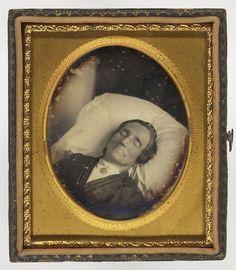 Post-mortem daguerreotype of a man.