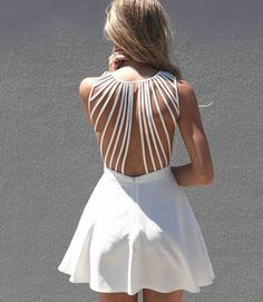 Dress: white dress, white, strappy dress, flared, bag, open back ...