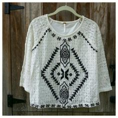 "💕SALE💕Free People Changing Directions Lace Top Pretty, summery lace top with black and gray tribal embroidery on front. Lace sleeves and front, solid knit back. Slightly cropped with 3/4 sleeves. Length 21"", width at bust 18"". Cotton /nylon, hand wash. Free People Tops Tees - Long Sleeve"
