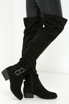 Black Suede Over the Knee Boots
