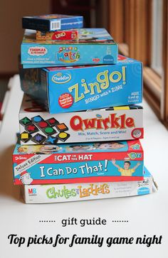 Gift guide: family game night - great picks for kids of all ages w/ detailed descriptions and age suggestions.