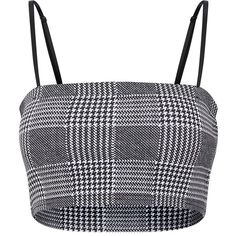 Black Check Printed Square Neck Cami Crop Top (910 INR) ❤ liked on Polyvore featuring tops, camisole tank top, cami top, square neck tank, cami tank and cropped camisole