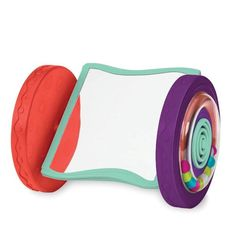 Sensory and colorful rolling mirror toy that stays upright when pushed. One wheel rattles with beads while the other softly chimes! Looky-Looky - Rolling Mirror - B. Preschool Toys, Toddler Preschool, Toddler Toys, Baby Toys, Baby Mirror, Funky Design, Pull Toy, Baby Games, Baby Play