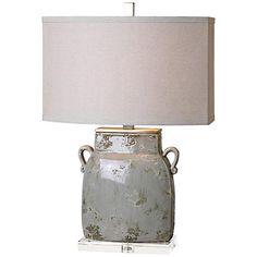 "Uttermost Melizzano Ivory Gray Ceramic Jug Table Lamp 25.25""H"