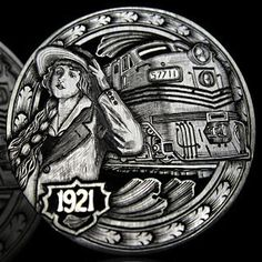 ANDY GONZALES HOBO NICKEL - LOST LOVE - 1921 BUFFALO NICKEL Hobo Nickel, Coin Art, Old Coins, Small Stuff, Cool Stuff, Coin Collecting, Silver Coins, Art Forms, Metal Art