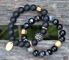 Dramatic Black Gemstone Beaded Bracelets / Handmade Beaded Bracelets / Set of 2