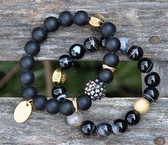 Dramatic Black Gemstone Beaded Bracelets / Handmade Beaded Bracelets / Set of 2