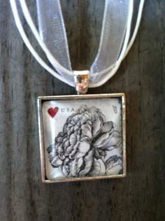 Vintage Rose Necklace ~  Black & White Rose Necklace ~ Dome Pendant Tray Necklace ~ Postage Stamp Jewelry ~ Forever Stamp ~ Collect Stamps by MichellesVarietyShop on Etsy