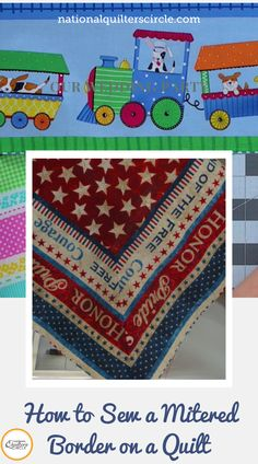 Many quilts have borders as part of their design. Next time you have a quilt that calls for a border, consider adding a mitered border. Colleen Tauke shows you step-by-step how to add a mitered border to a small quilt sample. Sewing Machine Thread, Machine Quilting Patterns, Quilt Block Patterns, Quilt Blocks, Quilting Room, Quilting Tips, Quilting Tutorials, Quilting Projects, Strip Quilts