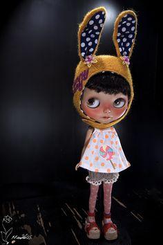 Blythe Doll with Bunny Helmet