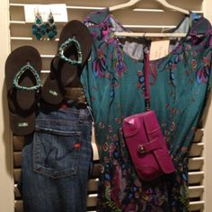 Citizens of Humanity Jeans, tunic, turquoise embellished flip flops