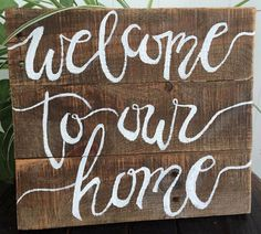 "This rustic piece of decor is perfect to start off for any new home. The sign is made from reclaimed pallet wood, carefully sanded and treated with a gloss to ensure longevity. It measures appx 12"" x"