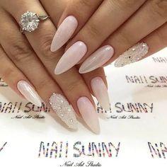 Baby Pink Almond Nails with Silver Diamonds Classy Nail Designs, Pretty Nail Designs, Short Nail Designs, Nail Art Designs, Classy Nails, Cute Nails, My Nails, Classy Almond Nails, Long Nails