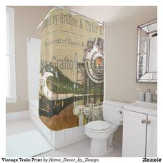 Vintage Train Print Shower Curtain Zazzle Com Printed Shower