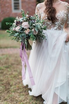 Bouquet with Purple Ribbons | photography by http://nickimetcalf.com/