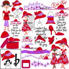 Red Hat Ladies Clip Art | hat hat attitude red hat wordart high heel shoes red hats polka dot ...