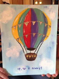 Baby shower guestbook hot air balloon on canvas with acrylic paint. Baby Shower Gifts For Boys, Baby Shower Cards, Painting Of Girl, Rock Painting, Baby Shower Cake Decorations, Girl Gift Baskets, Baby Shower Drinks, Balloon Painting, Valentines Day Baby