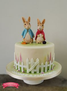 Beatrix Potter cake featuring Peter Rabbit and Flopsy Bunny