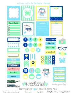 Free Pretty Blues Planner Stickers | Vintage Glam Studio