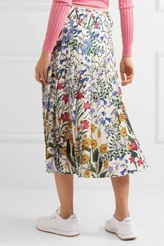 Gucci - Pleated Floral-print Silk-crepe Midi Skirt - Ivory - IT48