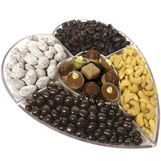 Mothers Day Heart Shaped Lucite Dish Filled with Nuts Chocolate & Dried Fruit