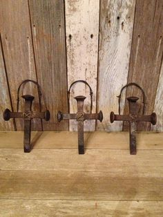 Hanging railroad  spikes.