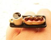 Kawaii Food Ring  Coffee Cream Puff  Miniature Food Jewelry