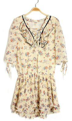 fashion girly vintage drape chiffon dress