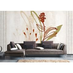 Contemporary Artistic Flowers Non-Woven Paper Mural ($41) ❤ liked on Polyvore featuring home, home decor, wall art, wall murals, contemporary wall art, contemporary home decor, blossom wall art, flower wall art and flower murals