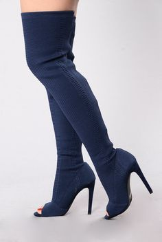 - Available In Nude, Olive, Gray, Navy - Stretch Patterned Knit - Thigh High Boot - Peep Toe - 4 1/2 Stiletto Heel