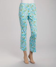 Turquoise Flower Power Crop Pants - Women by Rafael, $17 !!  #zulilyfinds