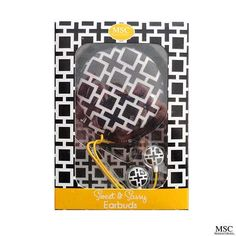 Earbuds with Case - Bold Squares - Headset - Earphones - Head Phones - Earbud - Cell Phone Headsets