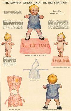 1913 Kewpie Kutouts paper doll - Kewpie Nurse and the Better Baby - kewpie dolls Americana
