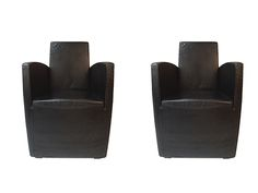 PHILLIPE STARCK SERIE LANG LOUNGE CHAIRS.  Perfect Pair of Black Chairs