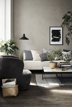Chic yet cosy interior, black, grey, white, blue