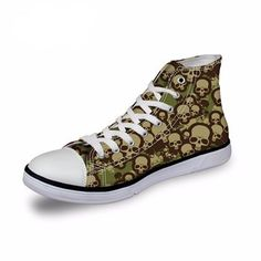 High Top Boots Shoes Skull Print #scary #terror #WomenBoots #WomenShoes #halloween