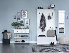 grijs-blauwe-muur-hal Denim Furniture, Furniture Covers, Living Room Throws, Living Room Decor, Room Interior, Interior And Exterior, Interior Design, Interior Decorating, Denim Drift
