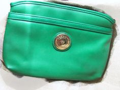 BARONET bright green vegan leather clutch bag etsy: VintageAngeline
