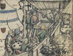 Mittelalterliches Hausbuch von Schloss Wolfegg Fol. 53r–53r1: Heerlager (Wagenburg) Date after 1480