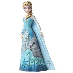 New Reward! Elsa's regal icy blue gown bears the beautifully detailed image of her ice palace in this figure by Jim Shore: