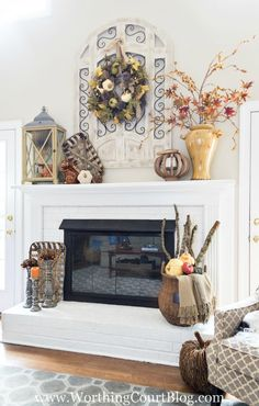 Fall Mantel With Farmhouse And Rustic Touches