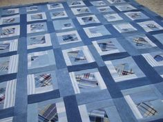 Up-Cycled Quilt Top made from old jeans and shirts