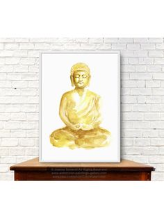 Golden Buddha Sculpture Watercolor Painting by ColorWatercolor