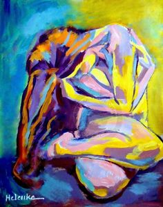 Helenka (©2013 artmajeur.com/helenka) Expressionist Seated Female Figure Painting. Media: Acrylic on canvas. Size: 55x68.5 cm. / 21.8x27.1 in.
