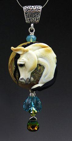 Buckskin Prince handmade Turquoise and Lampwork horse by LandSArts