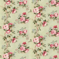 Dolls House   Wallpaper 1/12th or 1/24th scale Quality Paper Green Roses Dollhouse Miniature #57