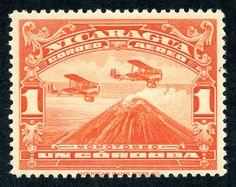 Nicaragua, 1929, Momotombo, orange red, American Bank Note Co.