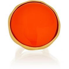 KENNETH JAY LANE Button Satin Gold Coral Ring ($49) ❤ liked on Polyvore