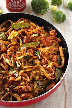 30-Minute Sriracha Chicken and Broccoli Lo Mein