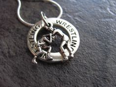Wrestling Necklace Silver Wrestling Charm by SilveradoJewelry, $20.00